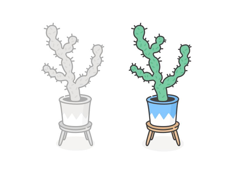 Cactus on a stool by Cécile Parker