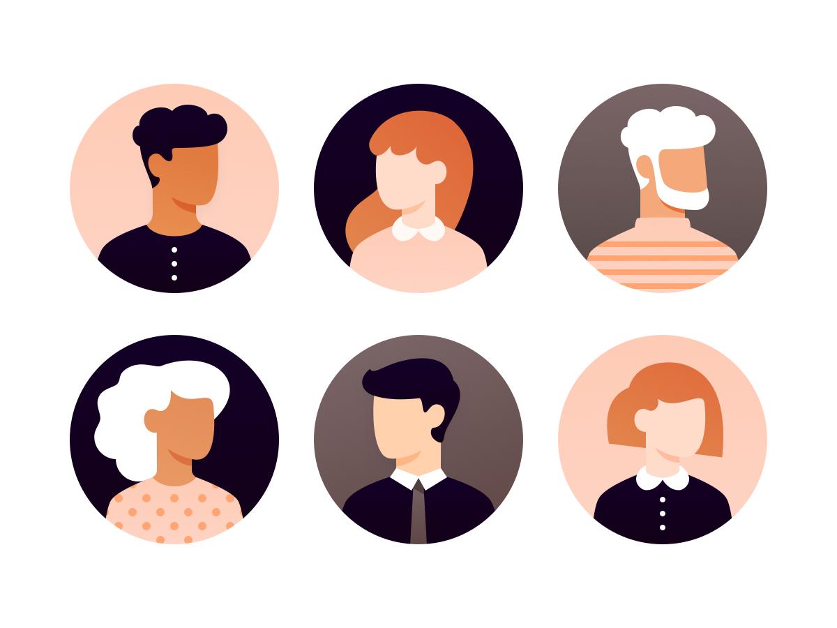 User avatars by Cécile Parker