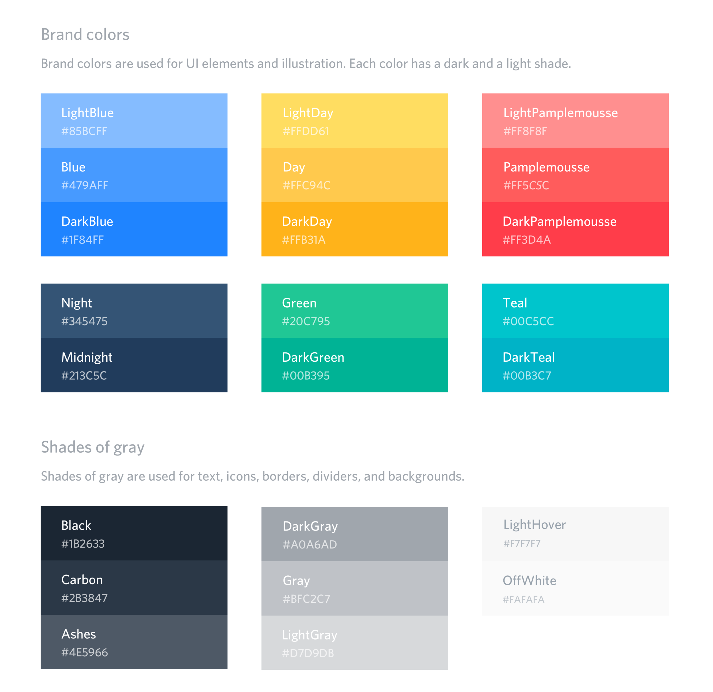 Inflect colors – UI guidelines