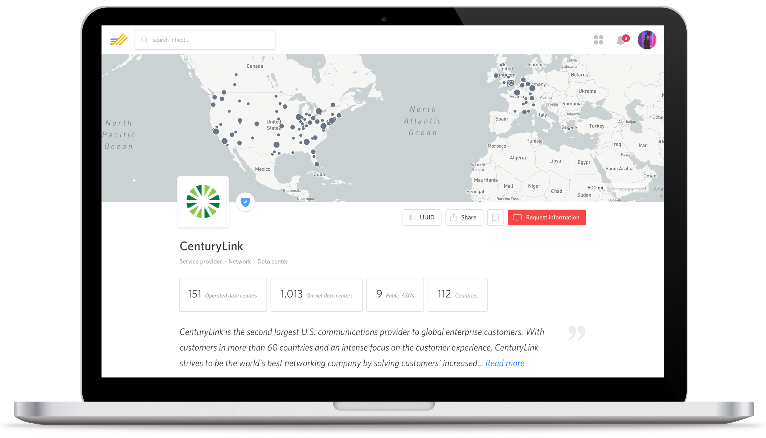 Company page for CenturyLink