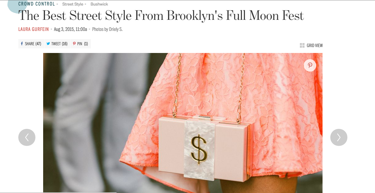 So exciting to see  Money Bags  front and center in this slideshow of killer looks from Full Moon Festival 2015. Full Moon is always an event of the season, and we're honored that Two Eggs made the cut as a top look! Note to self: be ready for photographers when wearing your #moneybags purse. They'll find you and make you look cool.