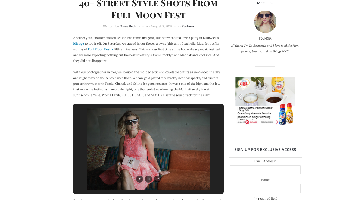 That's our girl Lisa sporing her favorite fluorescent pink lace number from Muehleder and her Money Bags purse while chilling at the Full Moon festival. So cool to be featured on the one and only Lo Bosworth's site. We've been big fans since she first hit the scene.