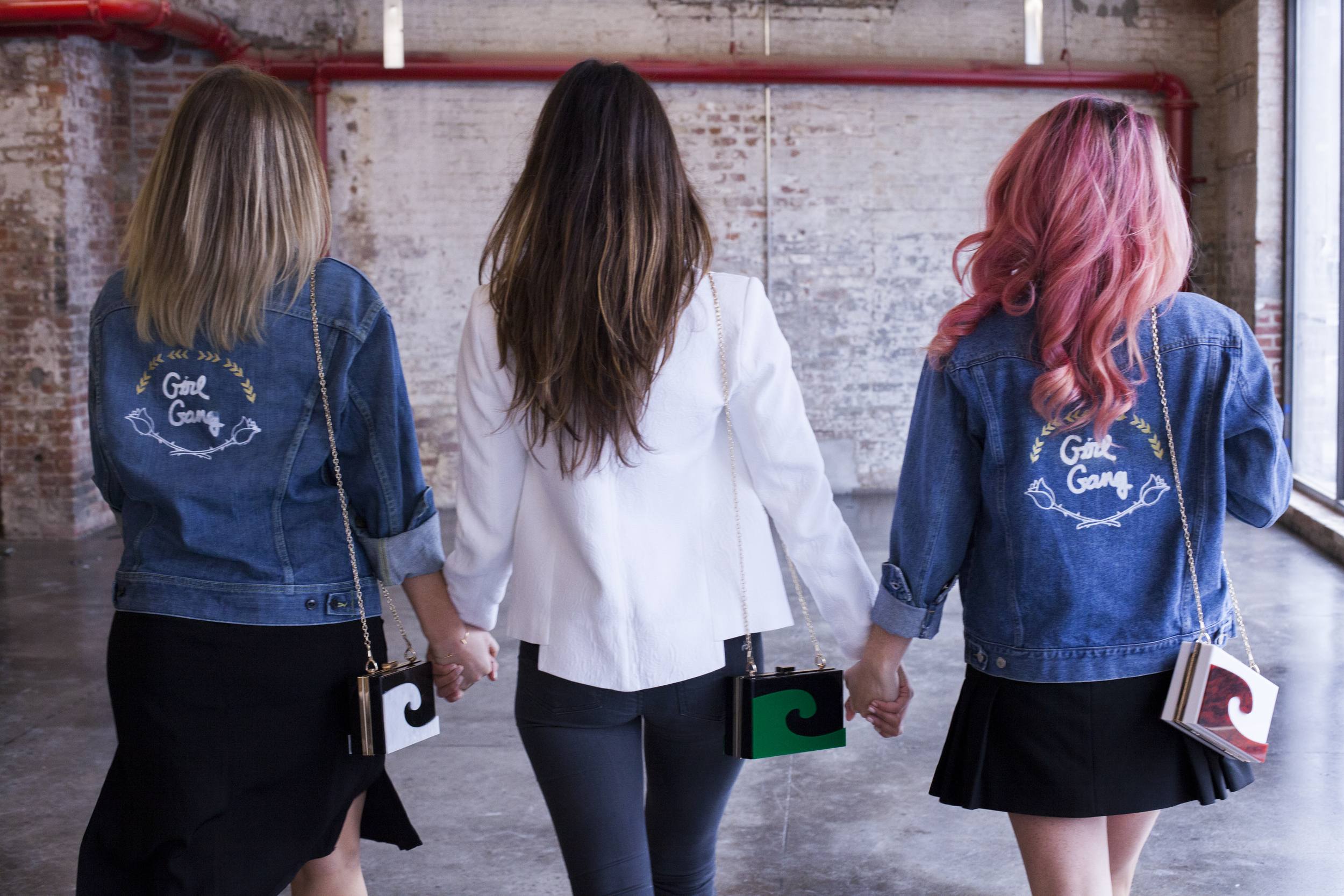 Girl Gang Inc - Rosie Siman, Melissa Serje, Katie Corcoran in Girl Gang Vintage Denim Jackets and Made in USA Two Eggs Box Clutch Wave Bag