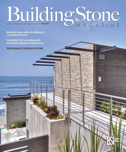 990 Oceanfront featured on cover of Building Stone Magazine.