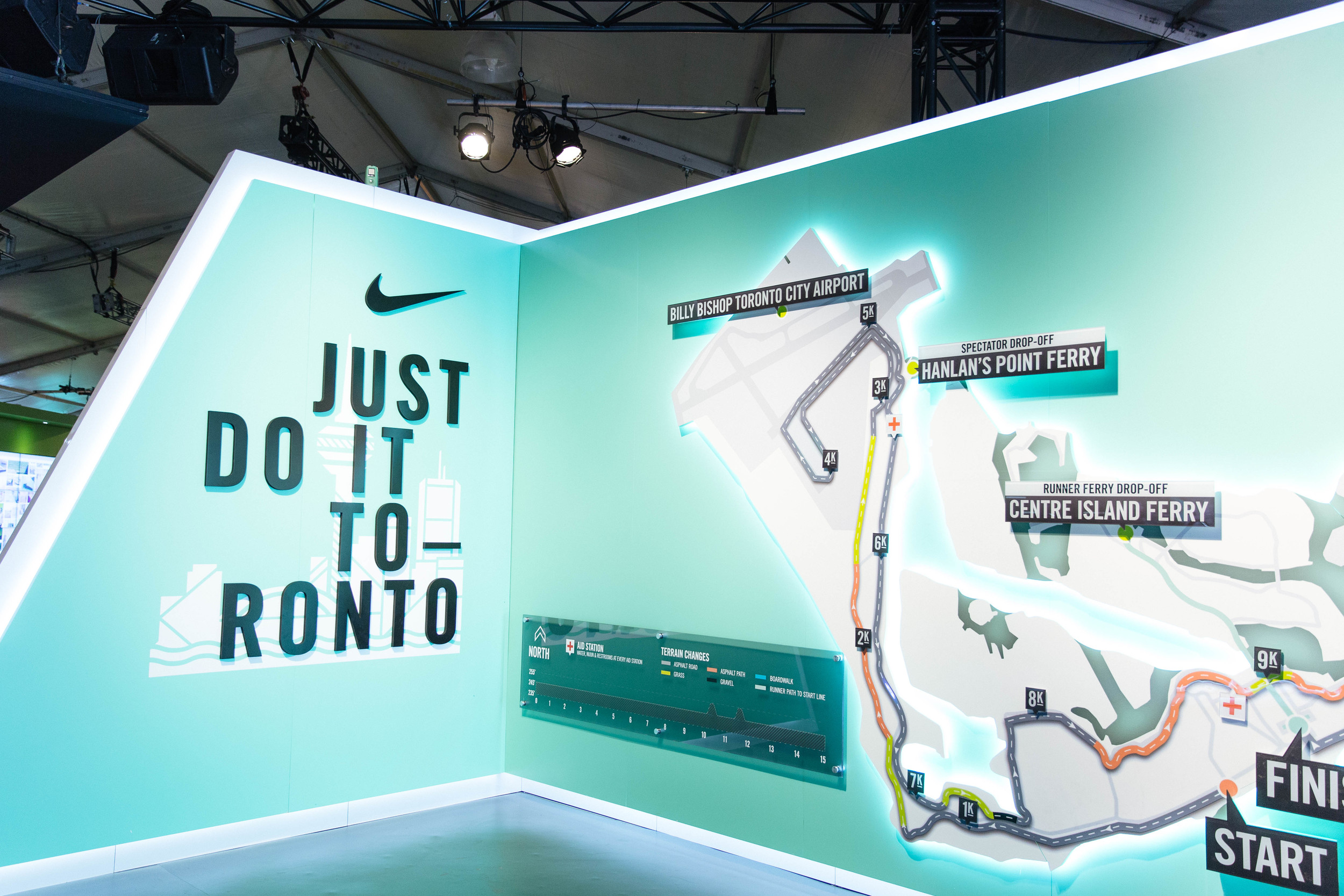 Just inside the Nike Women Expotique you'll find the route for Sunday's 15K on Toronto Island