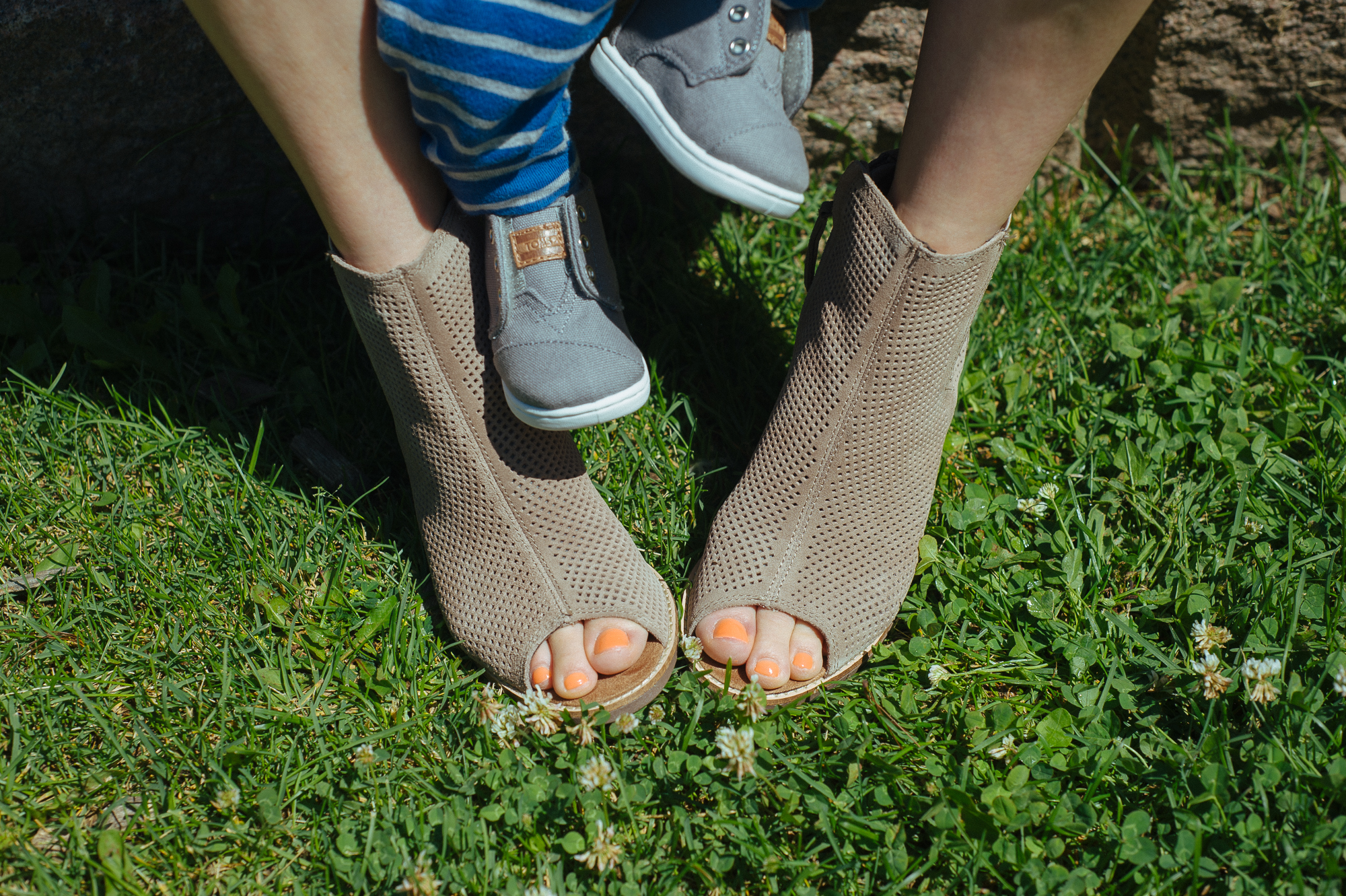 TOMS Majorca Peep Toe Booties in Stucco for me, Tiny TOMS Paseo-Mids in Grey Canvas for the wee Mister  Photo by  Tobias Wang
