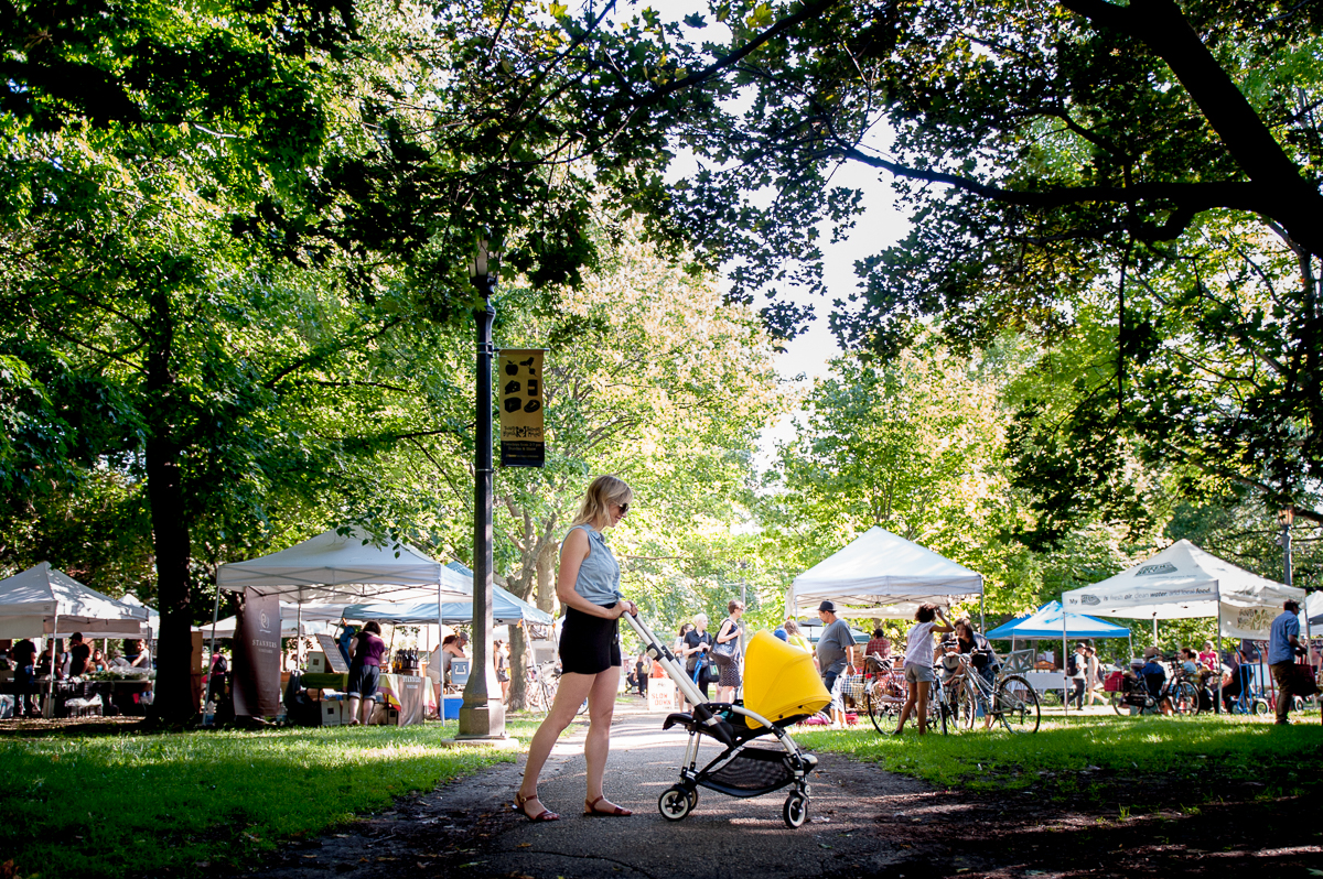 Visiting the Farmer's Market in Trinity Bellwoods Park with our Bee3 is super-easy! It's lightweight, has plenty of underseat storage & is easy to manoeuvre. Photo by   Tobias Wang  .