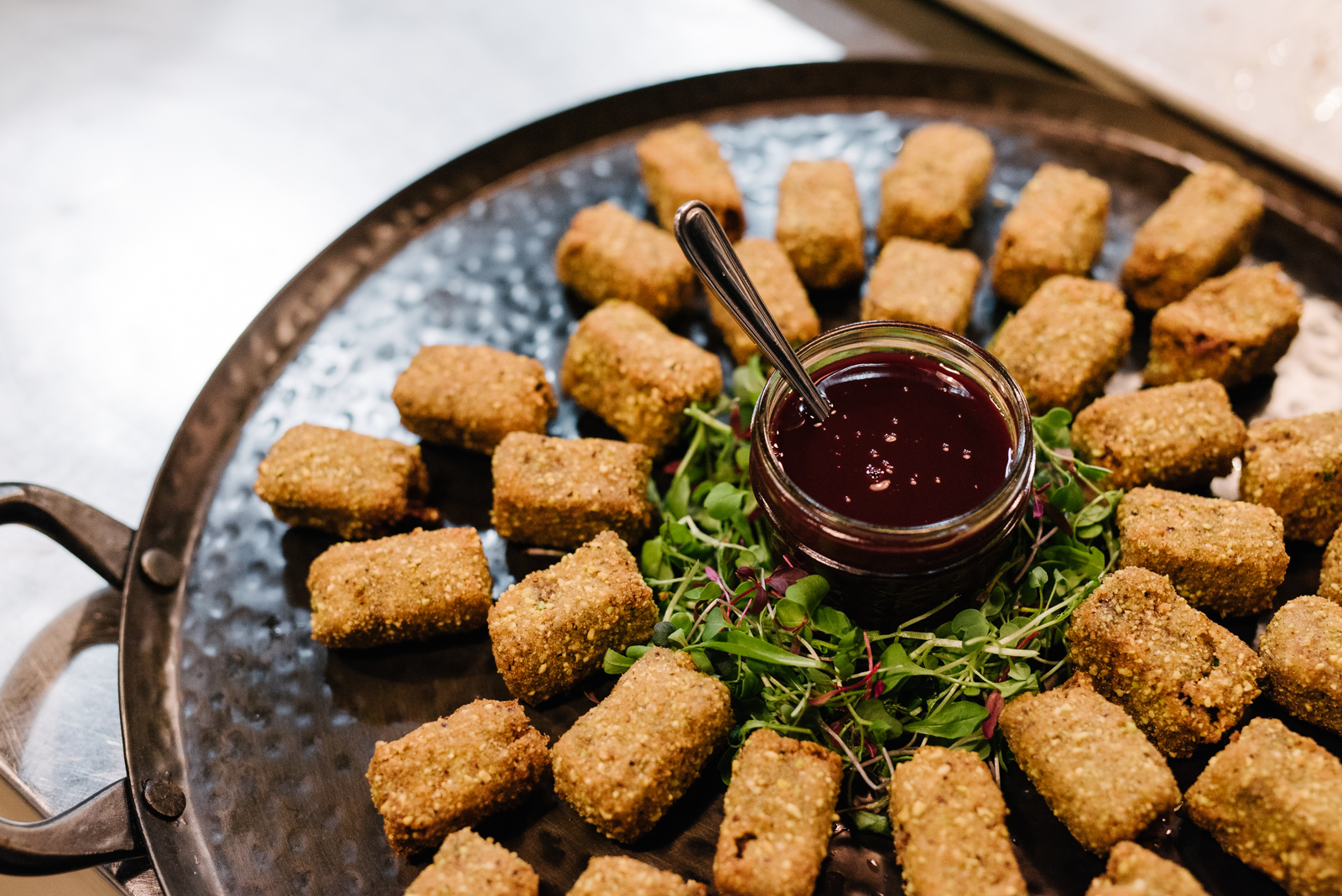 You had me at hello: Duck Confit Croquettes with Red Currant Jam Cumberland Sauce.