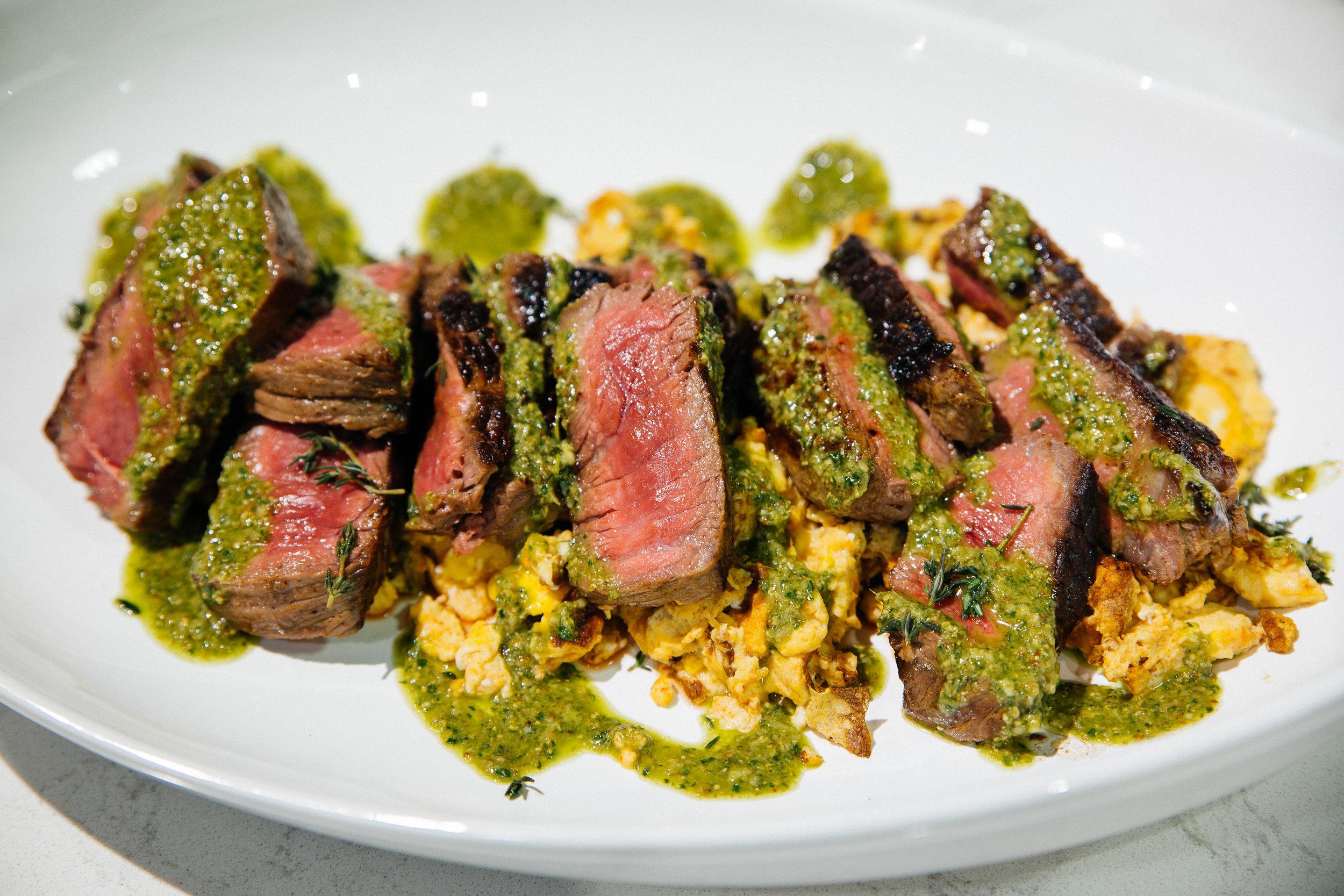 Steak & Eggs Top Sirloin + Scrambled Eggs + Canola Salsa Verde