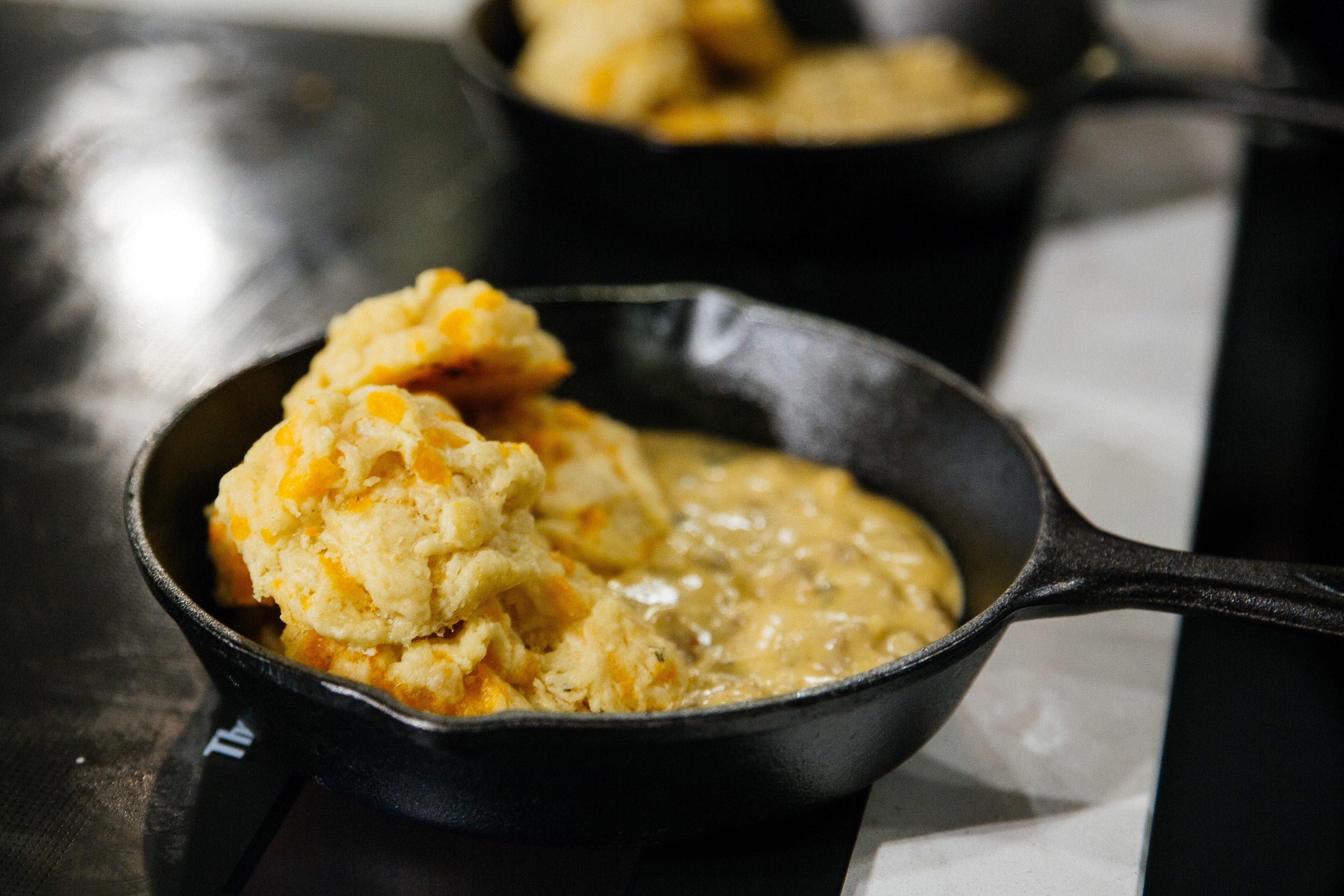 Warm Aged Cheddar Cheese Biscuits + Lamb Merguez Sausage Gravy