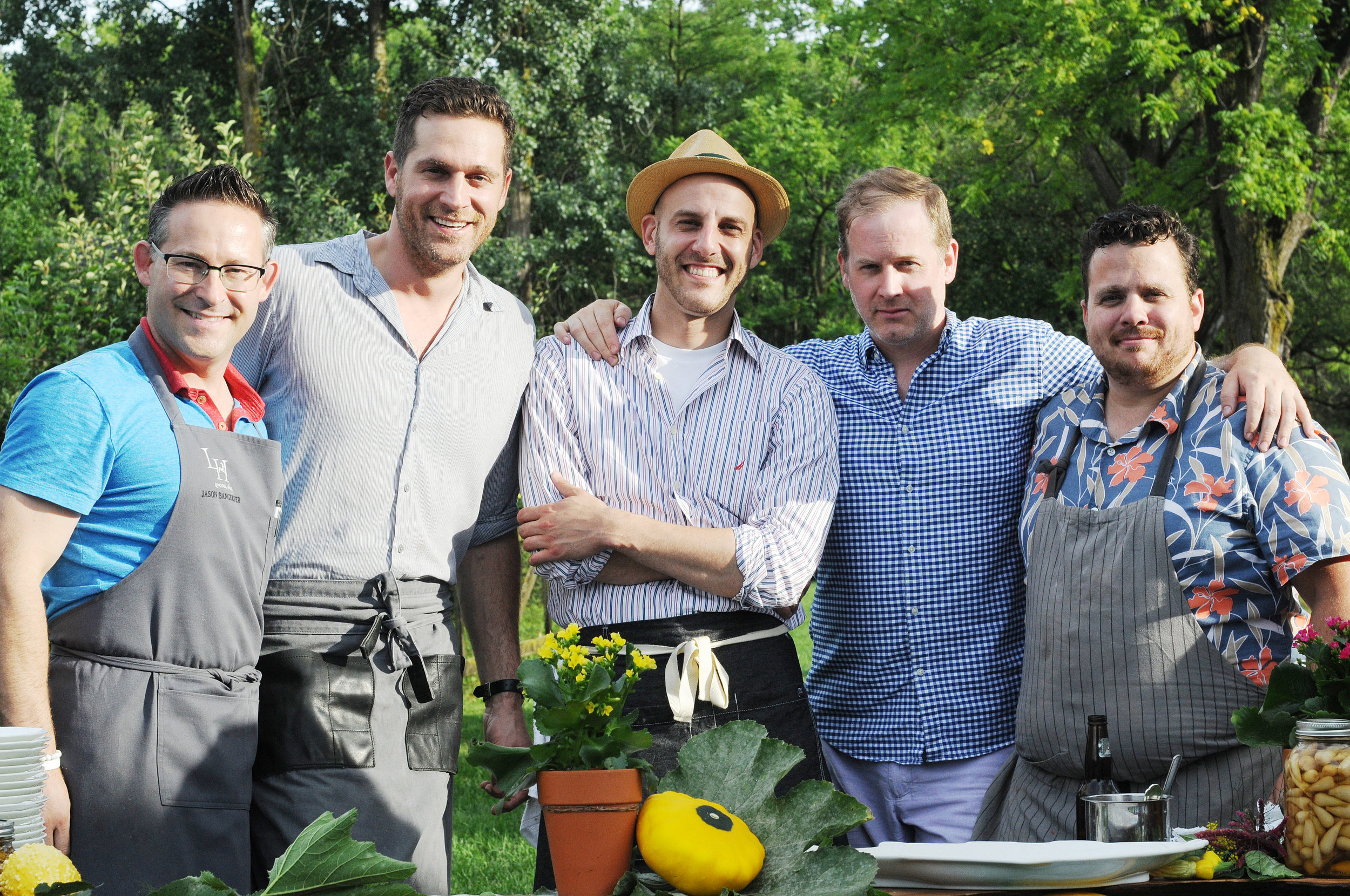 The League of Extraordinary Chefs 2017 Summer BBQ Edition. Jason Bangerter, Cory Vitiello, Afrim Pristine, Jonathan Goodyear & Victor Barry. Photo by Alex Eidelman.