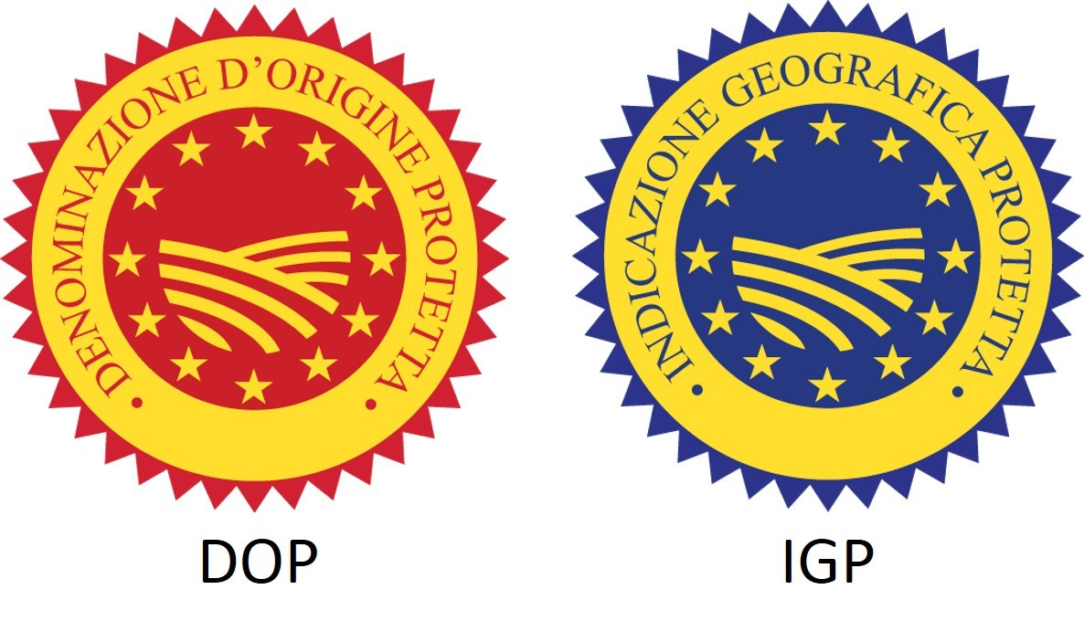 Examples of DOP (Protected Designation of Origin), IGP (Protected Geographical Indication) logos.