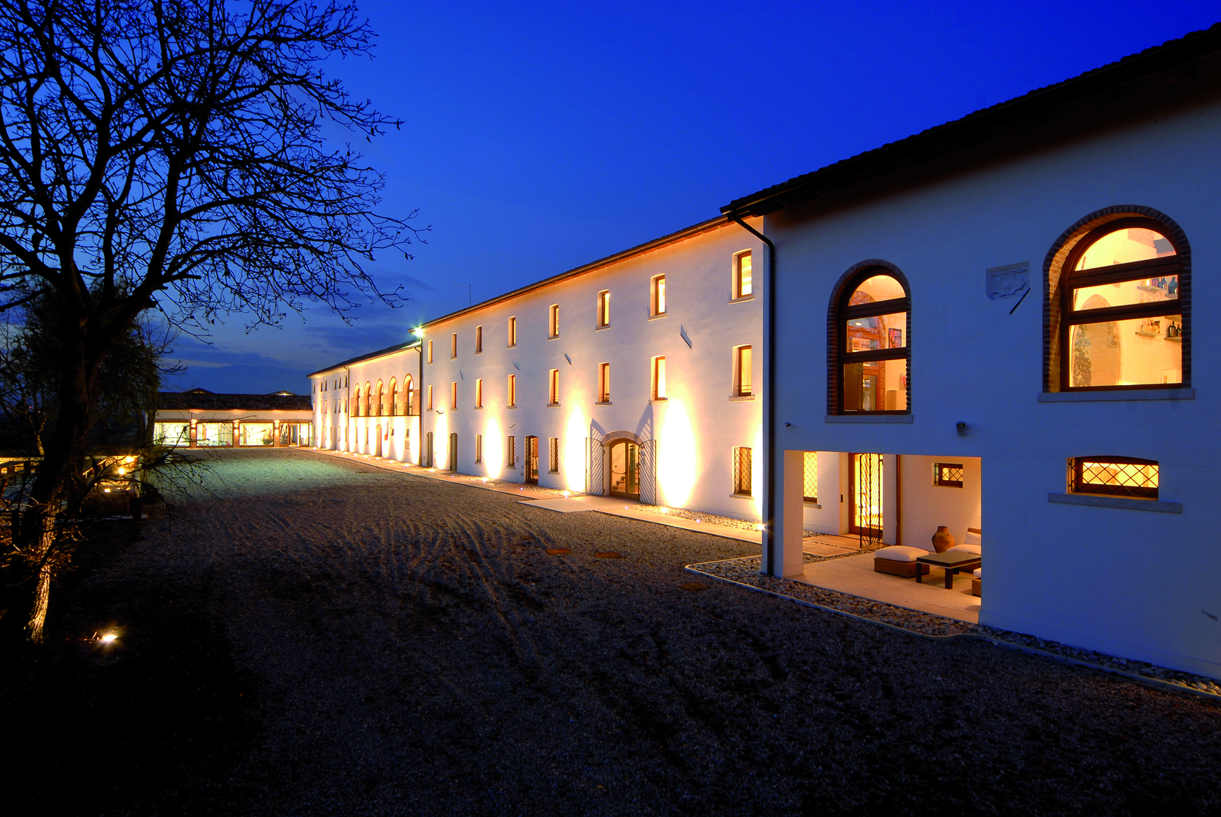 Distillerie Bottega at night. Photo provided by Bottega SpA.