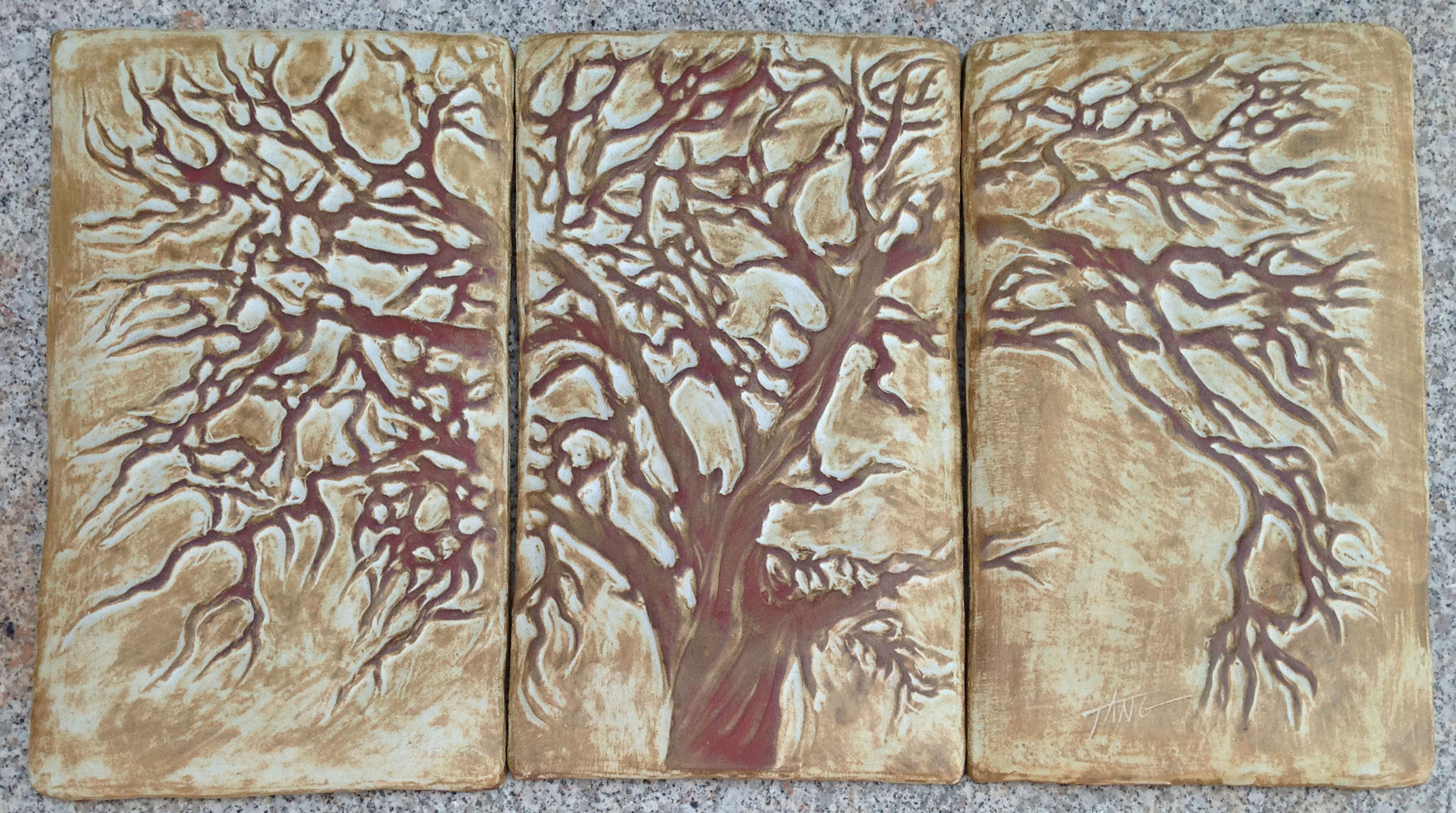 "Oak Tree Triptych - 29""x15.5"". Cha-Rie Tang original. Can be trimmed to 26""x14"""