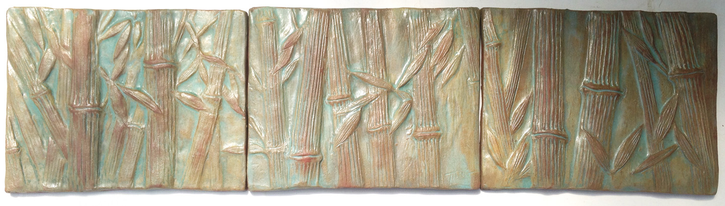"Bamboo Triptych - 34""x9"".  Cha-Rie Tang original."