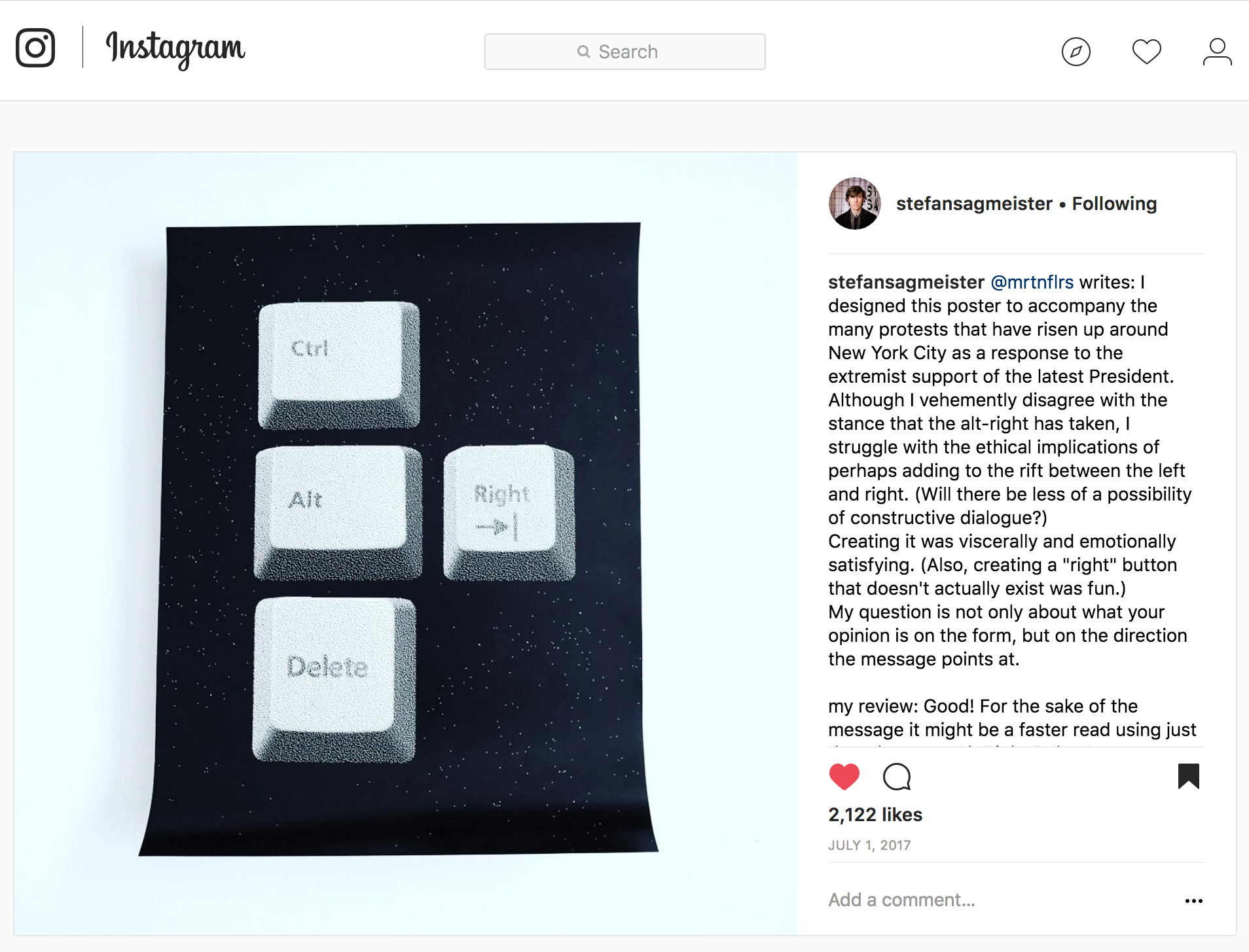 Featured on Stefan Sagmeister's  Instagram