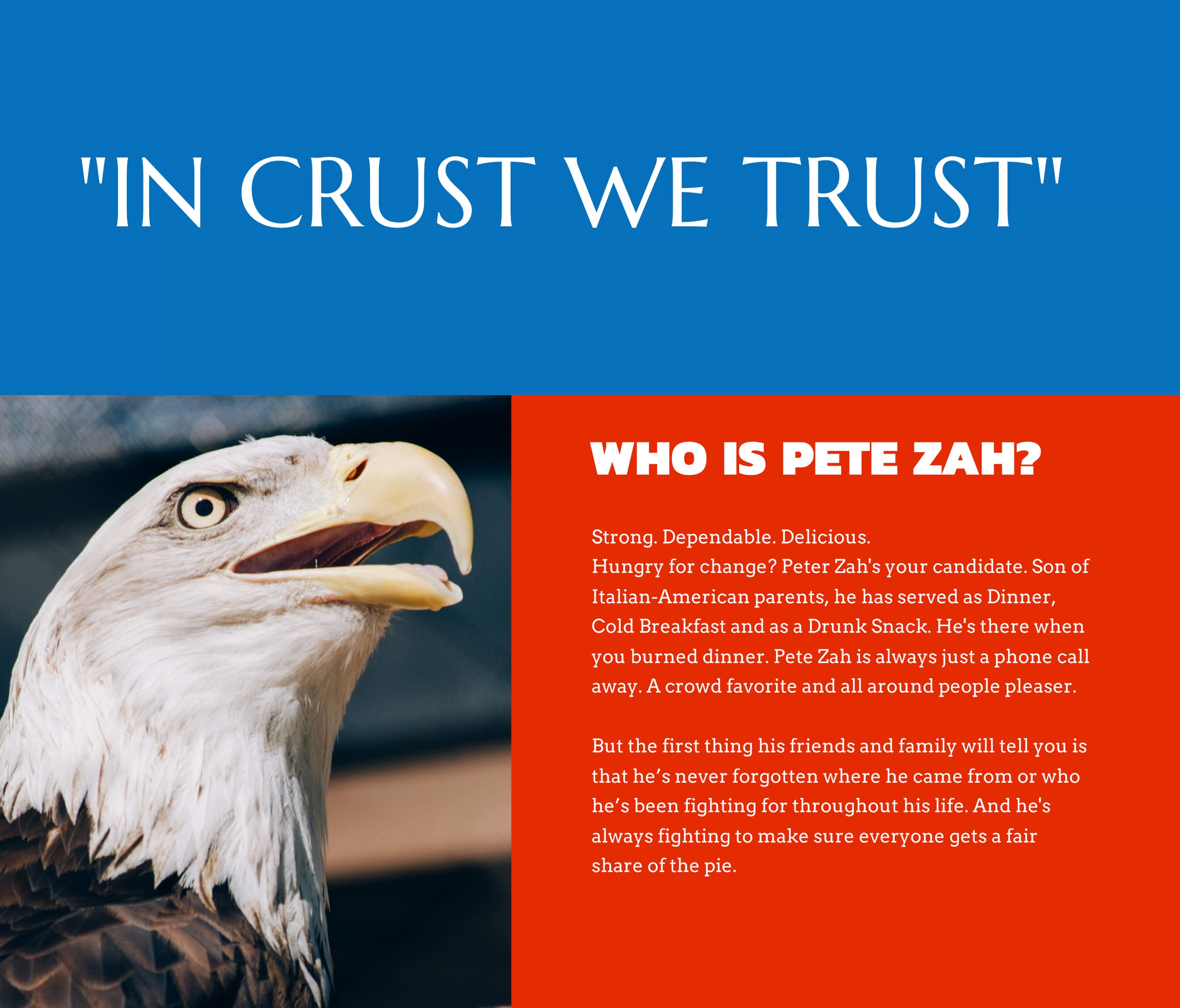 Intro to Pete Zah, the presidential candidate.