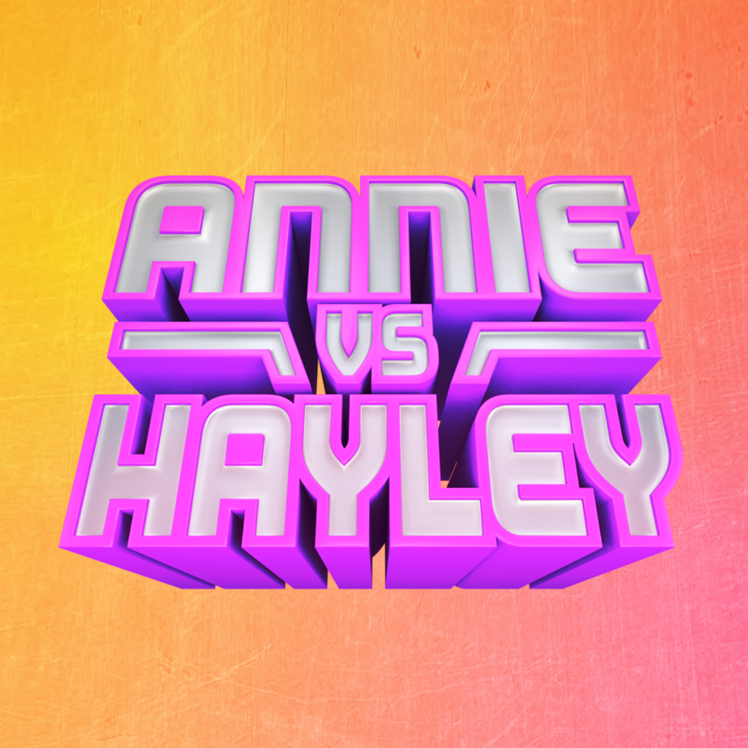 Logo for Annie vs Hayley, a competitive cooking show featuring the LeBlanc sisters. Animation and 3D model by Nick Animation Staff.