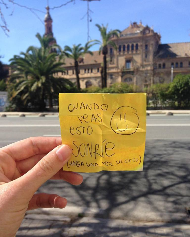 """A note I found on the ground while walking home from work during Culture Month! In Spanish it says: """"If you see this, SMILE!"""" I thought it was very fitting for my Happiness Project. :)"""