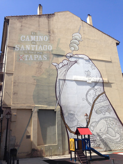 Famous wall art in Logroño celebrating pinchos and the Camino de Santiago.