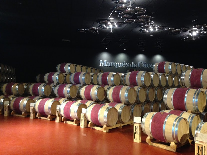 Barrels of wine... painted with wine... at Marques de Carceres Winery.