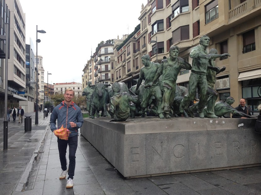 Bonus pic: Sam happily running for his life from the bulls of Pamplona!