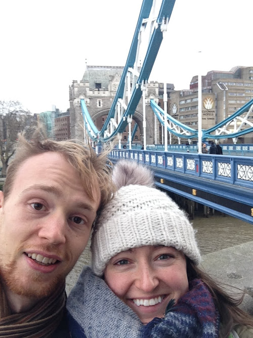 Us with Tower Bridge after spending the entire night awake and uncomfortable on the Megabus