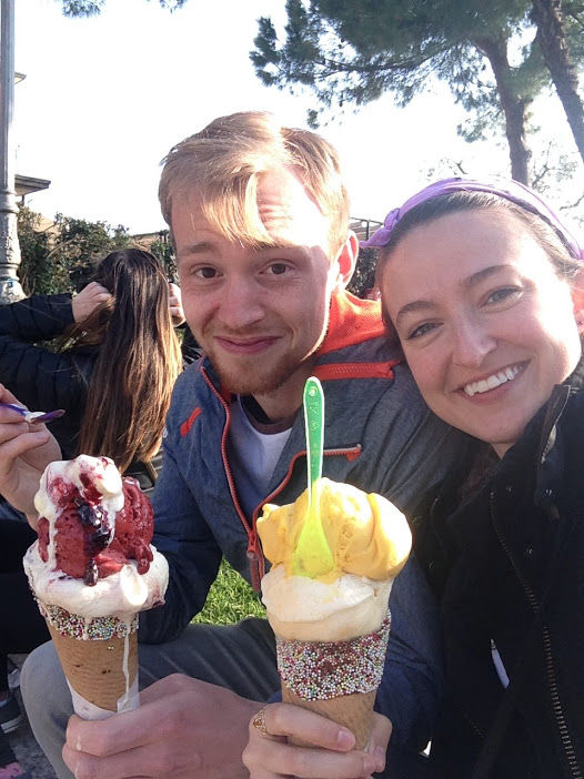 Eating ice cream bigger than our faces in Sirmione