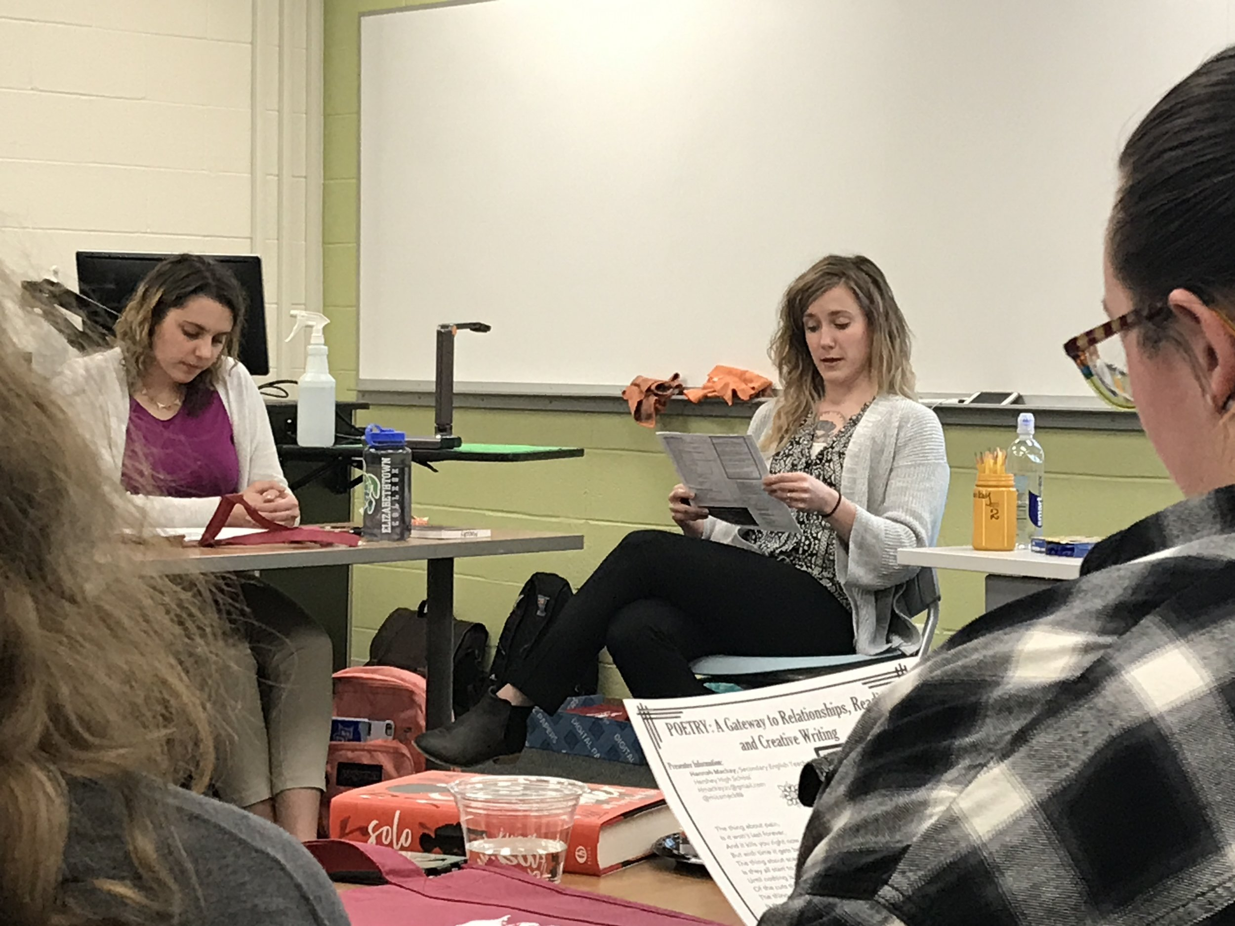 Hannah MacKay Presents on Poetry as a gateway in the secondary English/language arts classroom at Write2Reach Spring 2018.