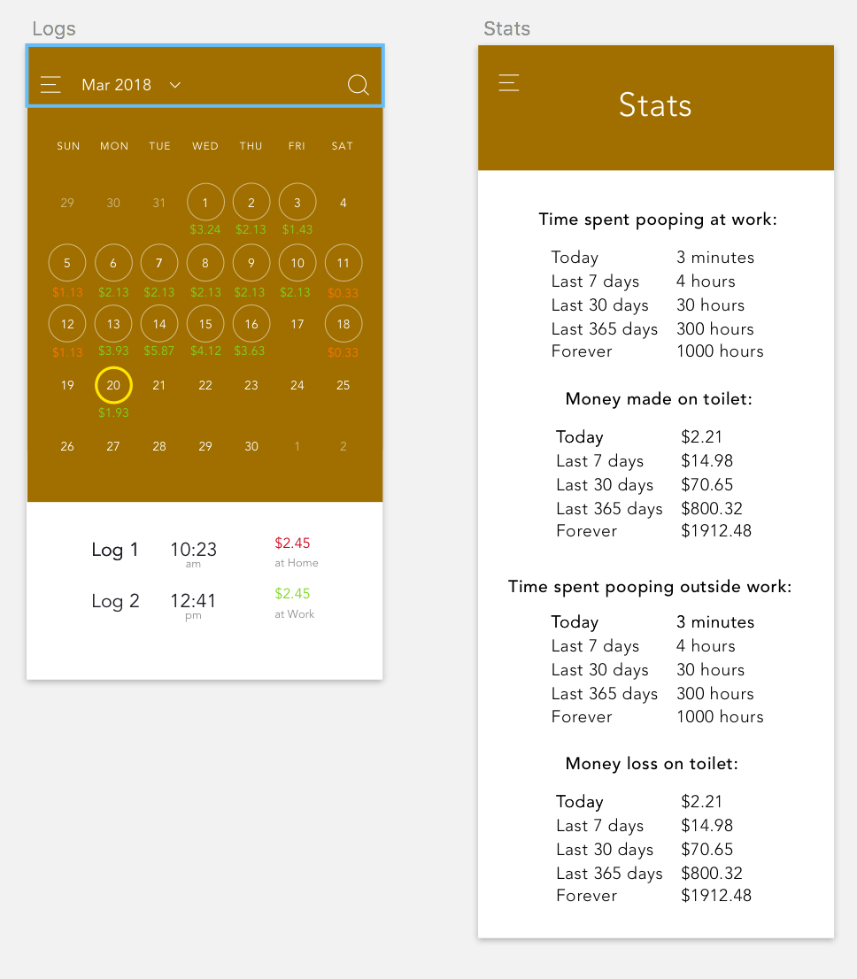 Calendar and Statistics pages