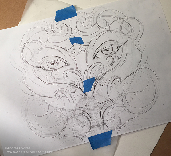 I also wanted a certain level of uncoordinated symmetry between both sides of the drawing, so I made sure to keep the lines loose, looking to avoid committing to anything at this stage. I then proceeded to scan what I had and using Photoshop, made a mirrored copy of my sketch,  enlarged it to fit better within the final paper size, taped them together, covered the back of the entire sketch with graphite then transferred it by going over my lines with a ballpoint pen.