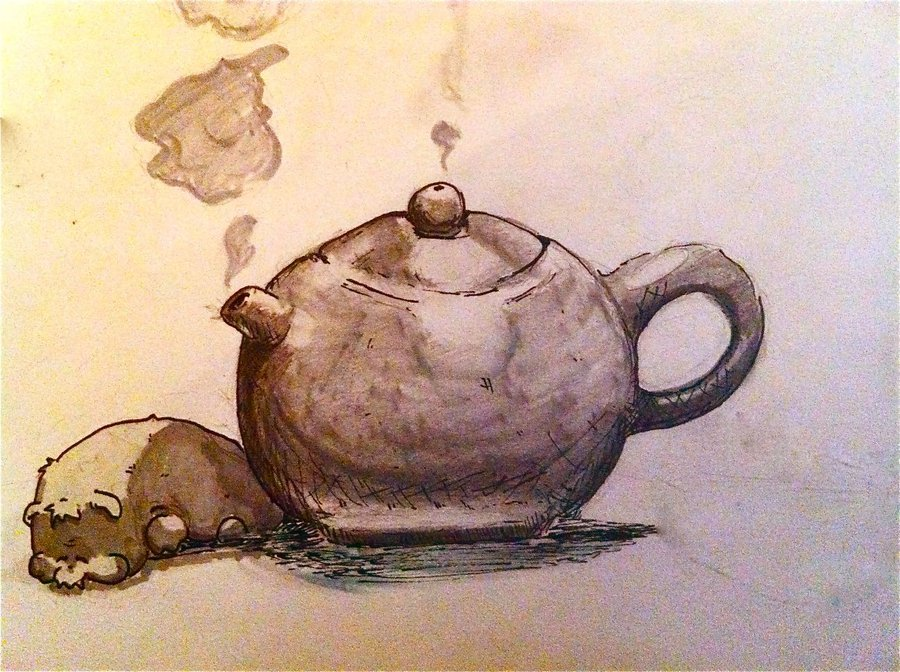 "( Teapot slumber  | Pondocus) ""Popiah dog features again, napping next to a yixing teapot."""