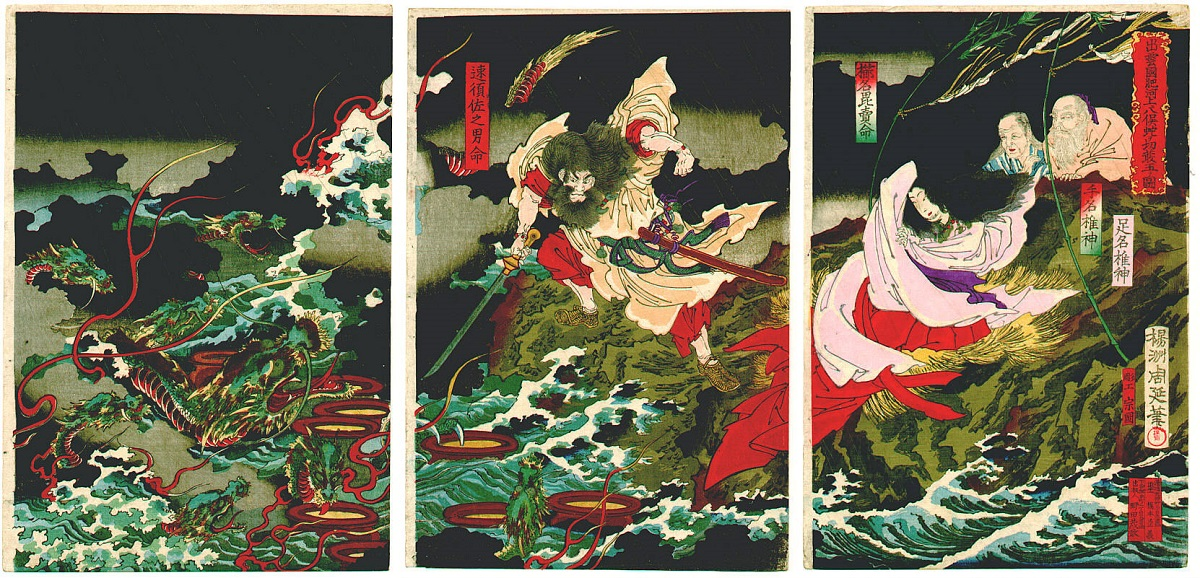 "( ""Susanoo slaying the Yamata-no-Orochi""  ca. 1870s by Toyohara Chikanobu)"
