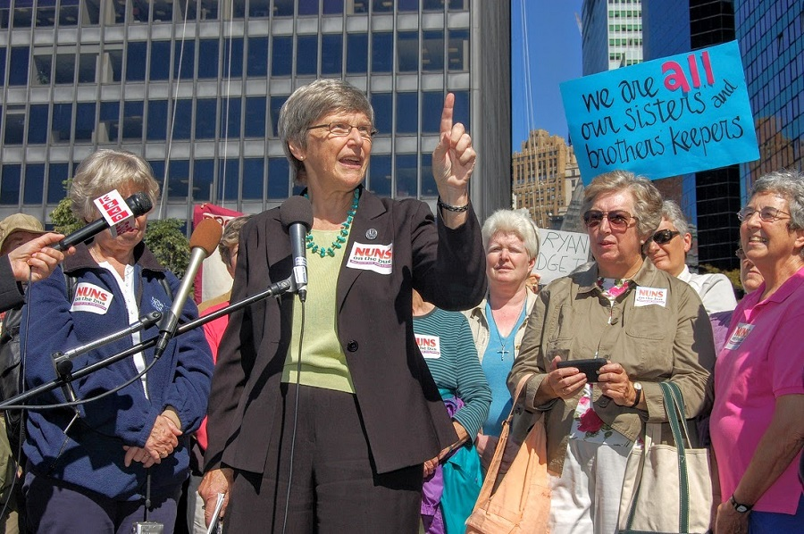 (Sister Simone Campbell speaking in lower Manhattan    Thomas Altfather Good )