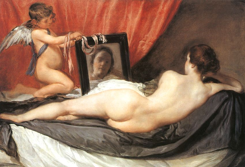 """I wonder what she is thinking as she gazes upon herself in the mirror? I wonder what Cupid is thinking as he is holding the mirror? ( """"The Rokeby Venus""""  