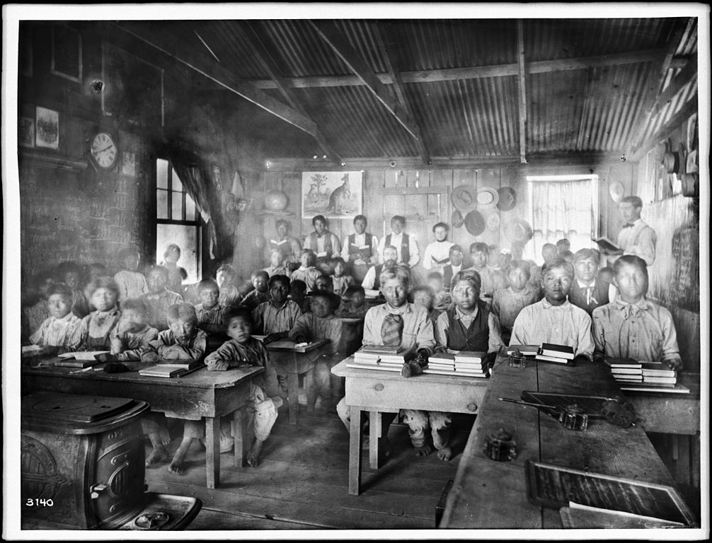 Classroom of students with their teachers inside a Walapai Indian school at Hackbury, Arizona, circa 1900  | Charles C. Pierce