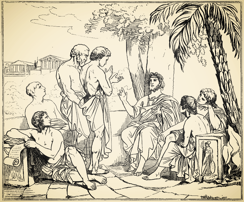 ( Plato in His Academy  | Engraving after painting by Swedish painter Carl Johan Wahlbom)