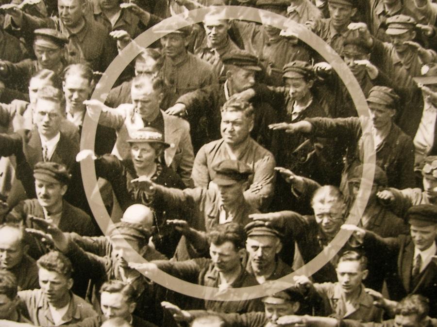 The most famous nonconformist, August Landmesser, in a sea of Nazis