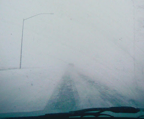 Caught in a blizzard. Right after this picture, it went all white. I really wasn't sure I would make it. But I did.