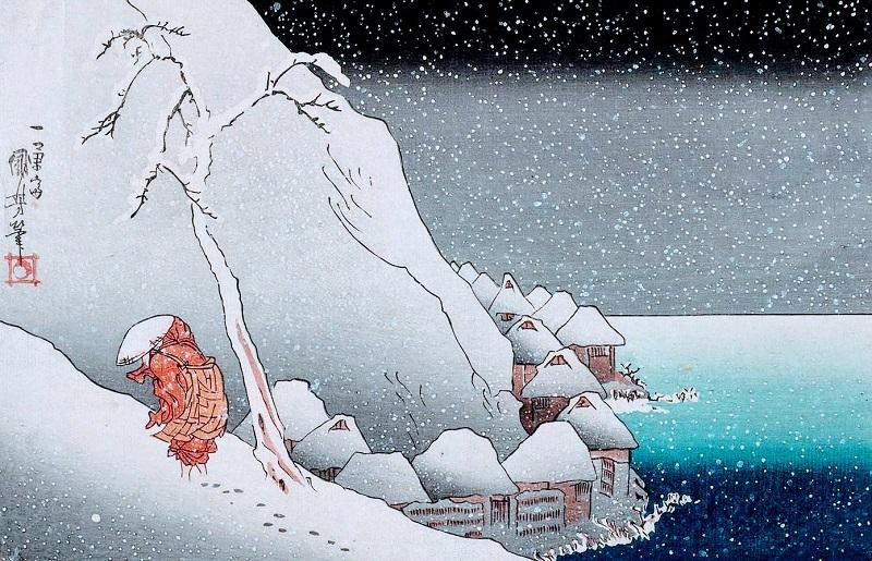 (Nichiren in the Snow at Tsukahara on Sado Island | Utagawa Kuniyosh)