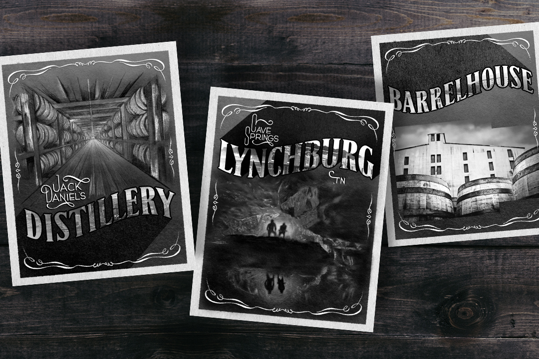 """Print pieces for Jack Daniel's that draw from traditional postcard format, with a distinct """"Jack"""" twist.  Illustrator: Ryan Wong"""