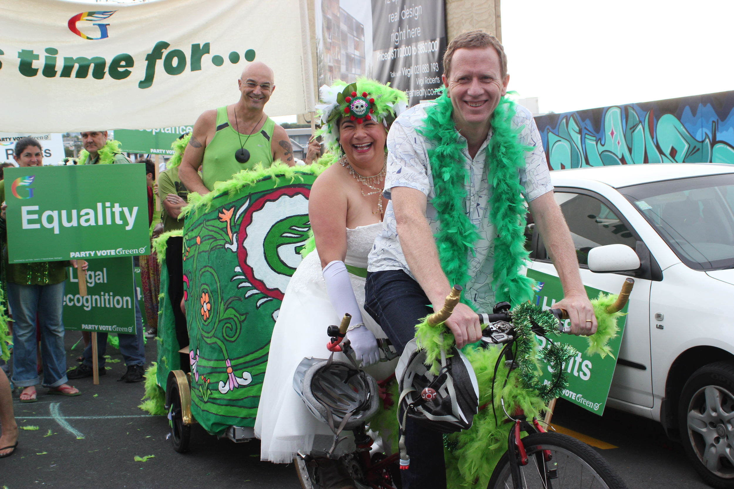 This picture shows Russel Norman and Metiria Turei on the pedals, and Kevin Hague in the chariot after the parade was finished.