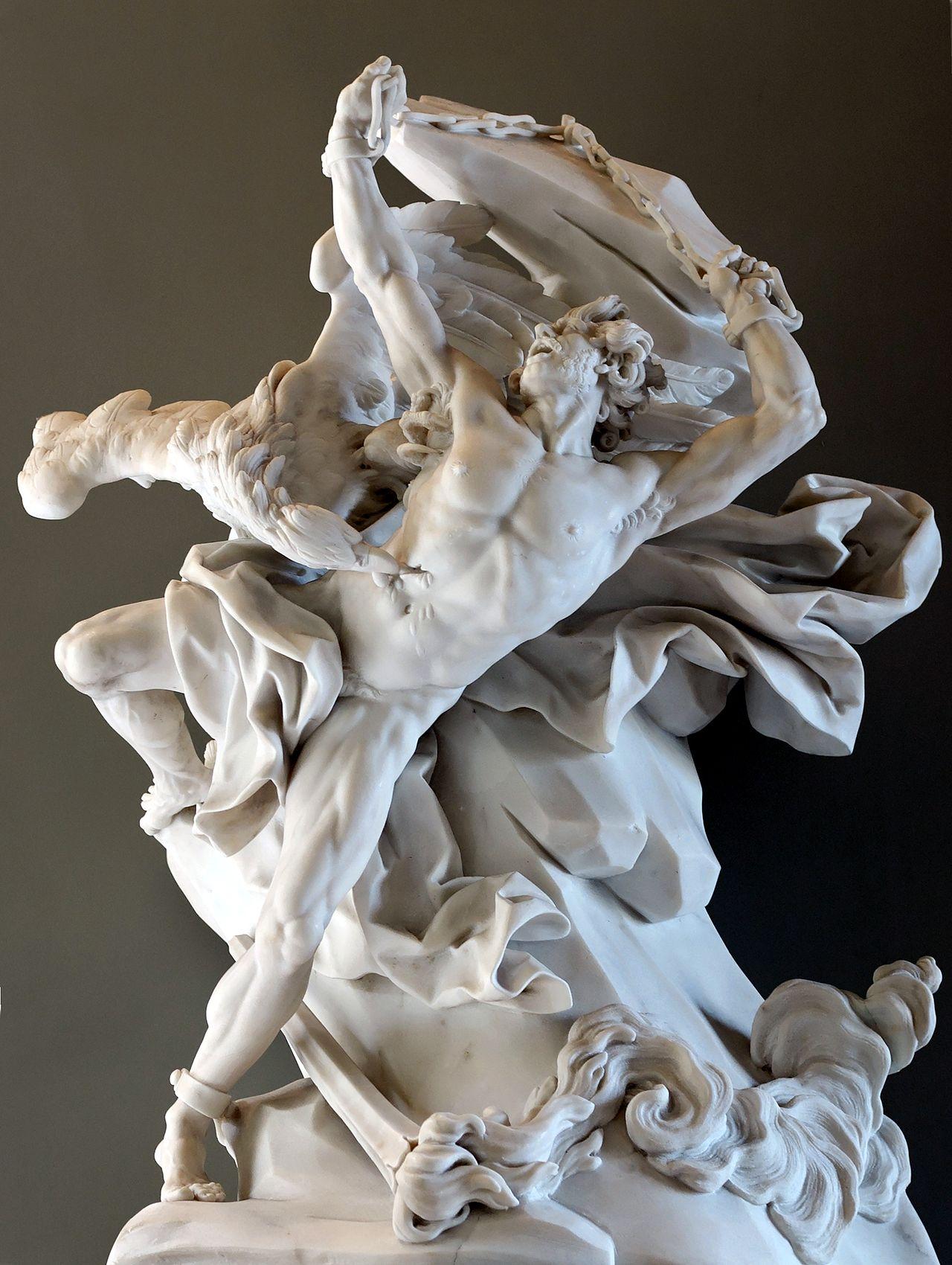 Prometheus depicted in a sculpture by Nicolas-Sébastien Adam, 1762 (Louvre)