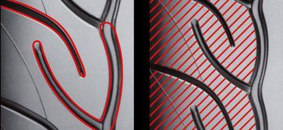 Sequentielles Rillen-Design / Uni-Block Schulterdesign