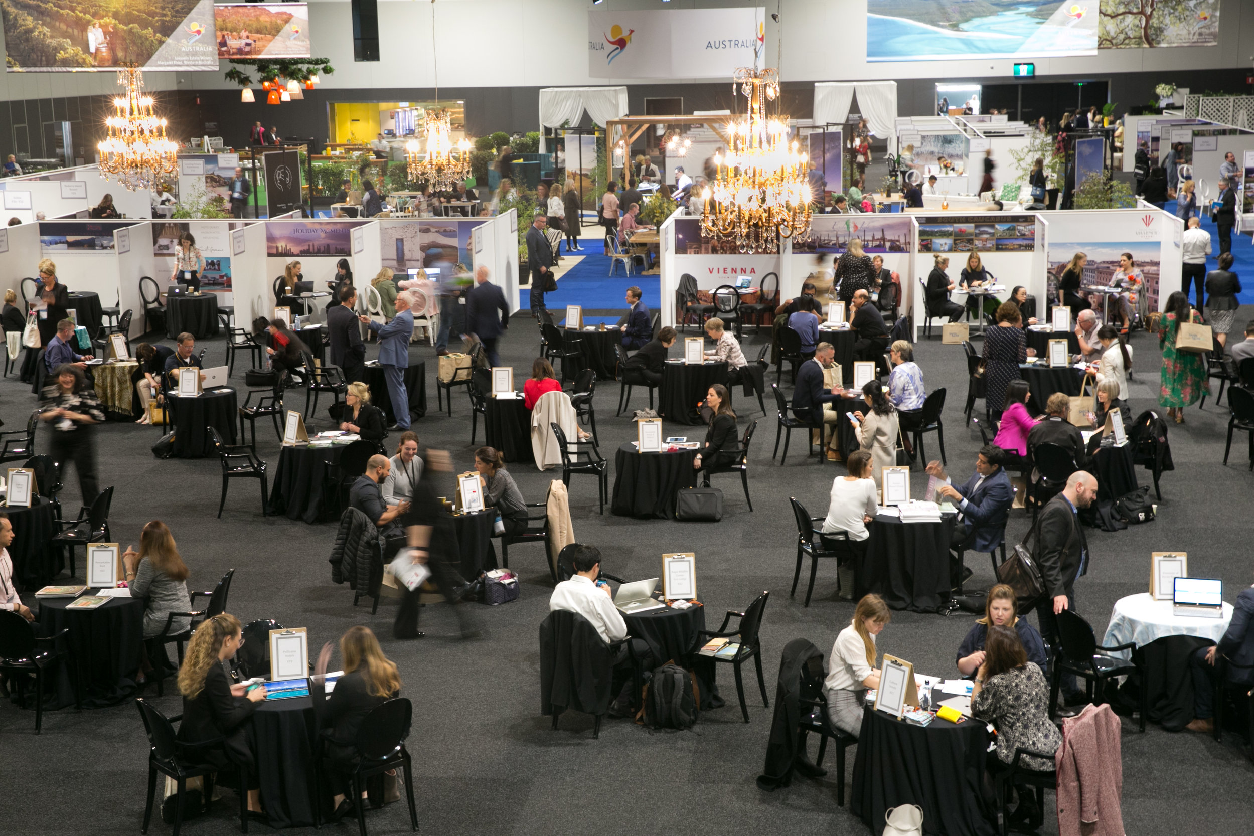 It looks like a speed dating event, but it's actually hundreds of travel professionals sharing their product!