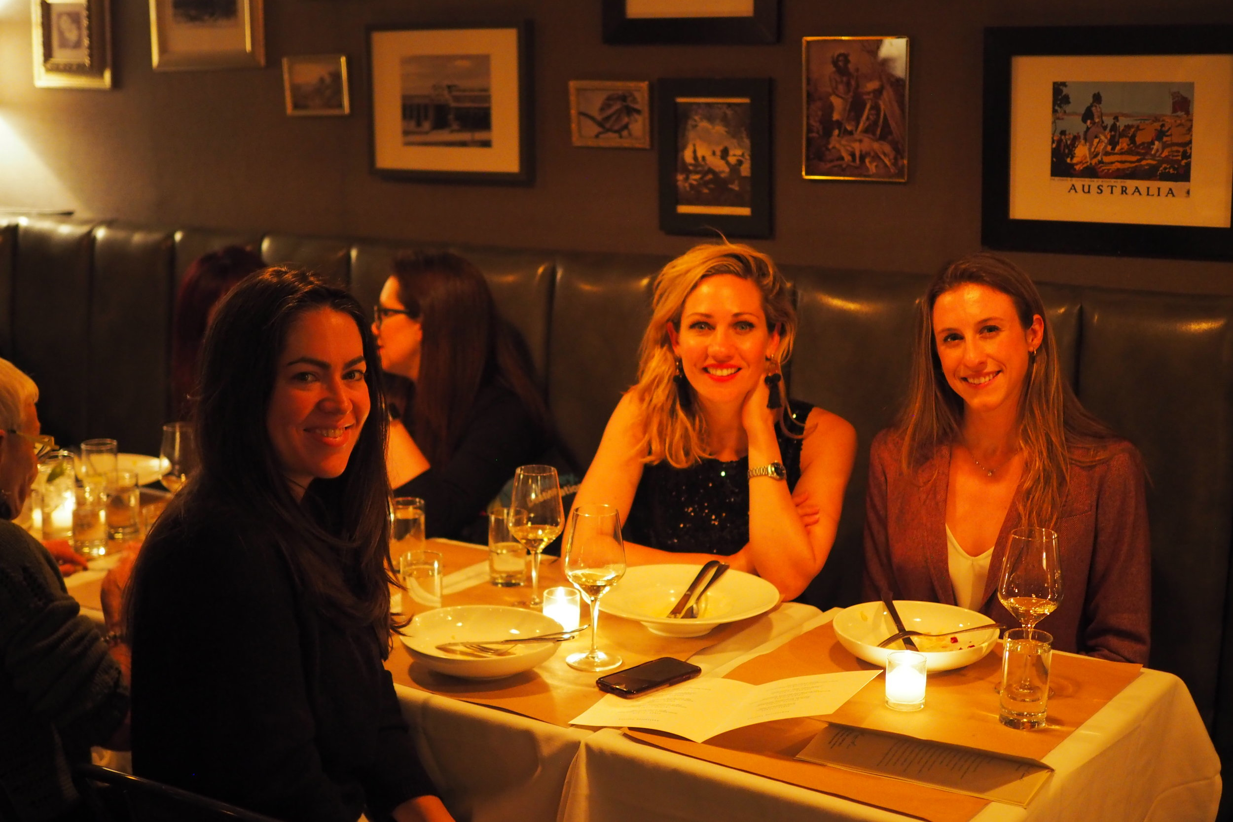 Pictured at Bourke and Wills Restaurant, Jade Fontenay From Fischer Travel on the left, myself and Kathryn Fischer from Swain Destinations on the right.