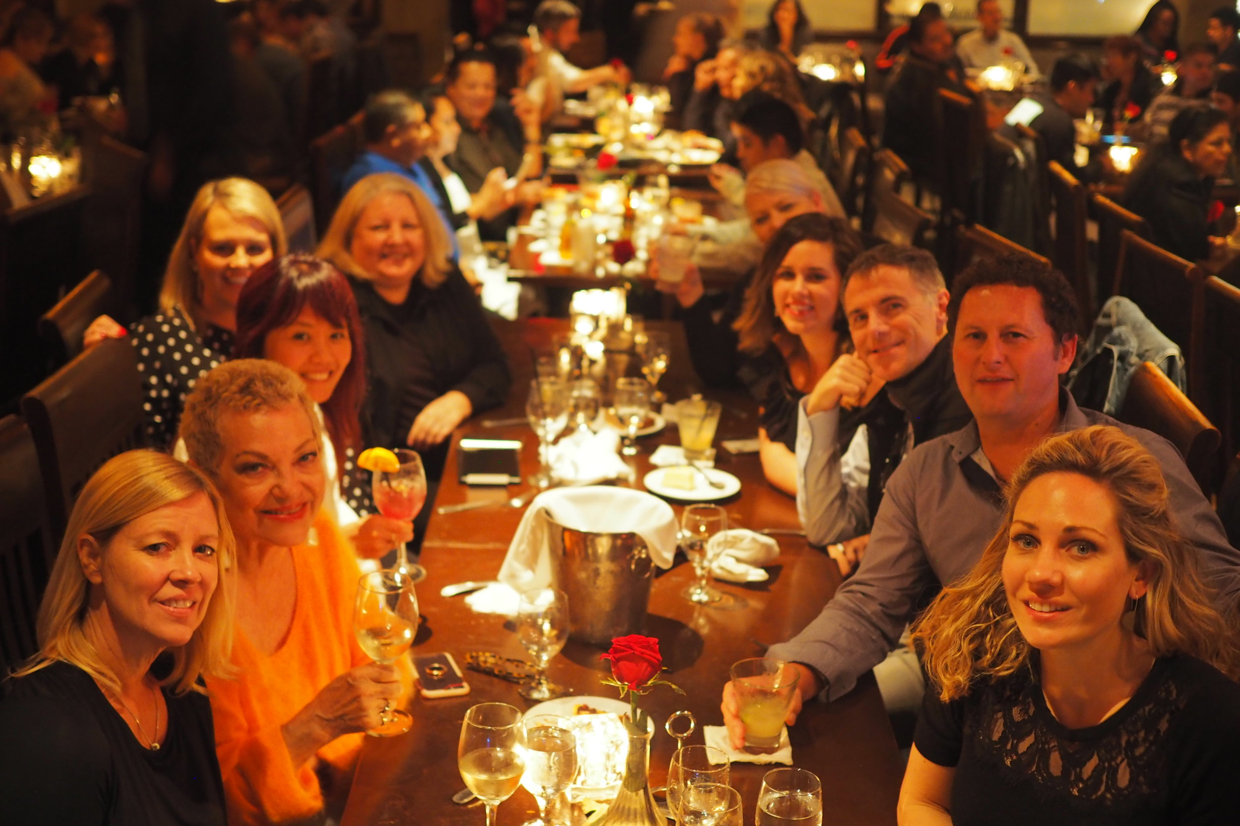 Our roadshow team at dinner for our final night in LA