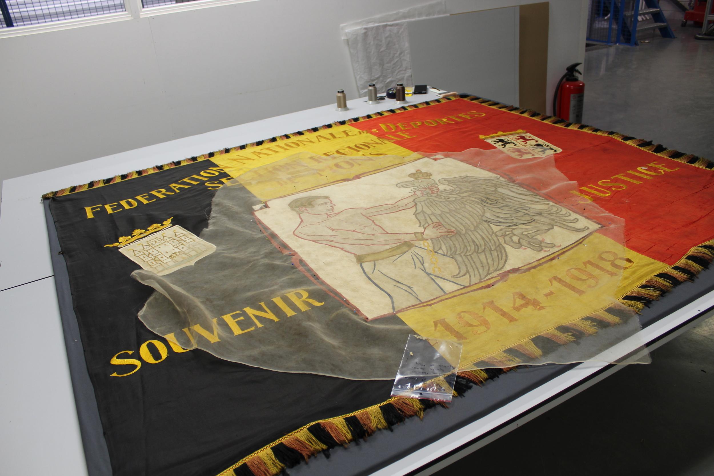 restoration of a silk flag