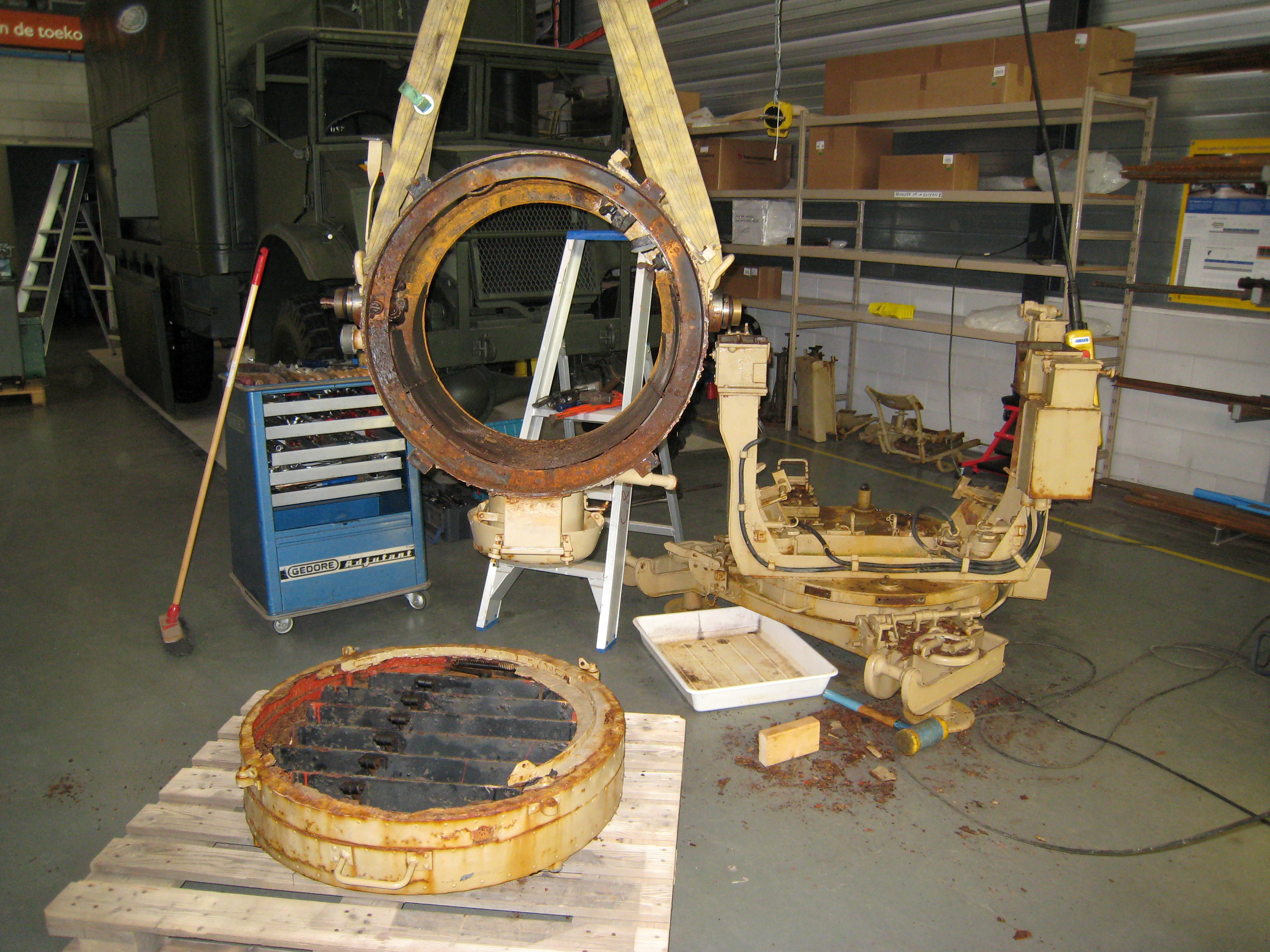 disassembly of the rusted parts