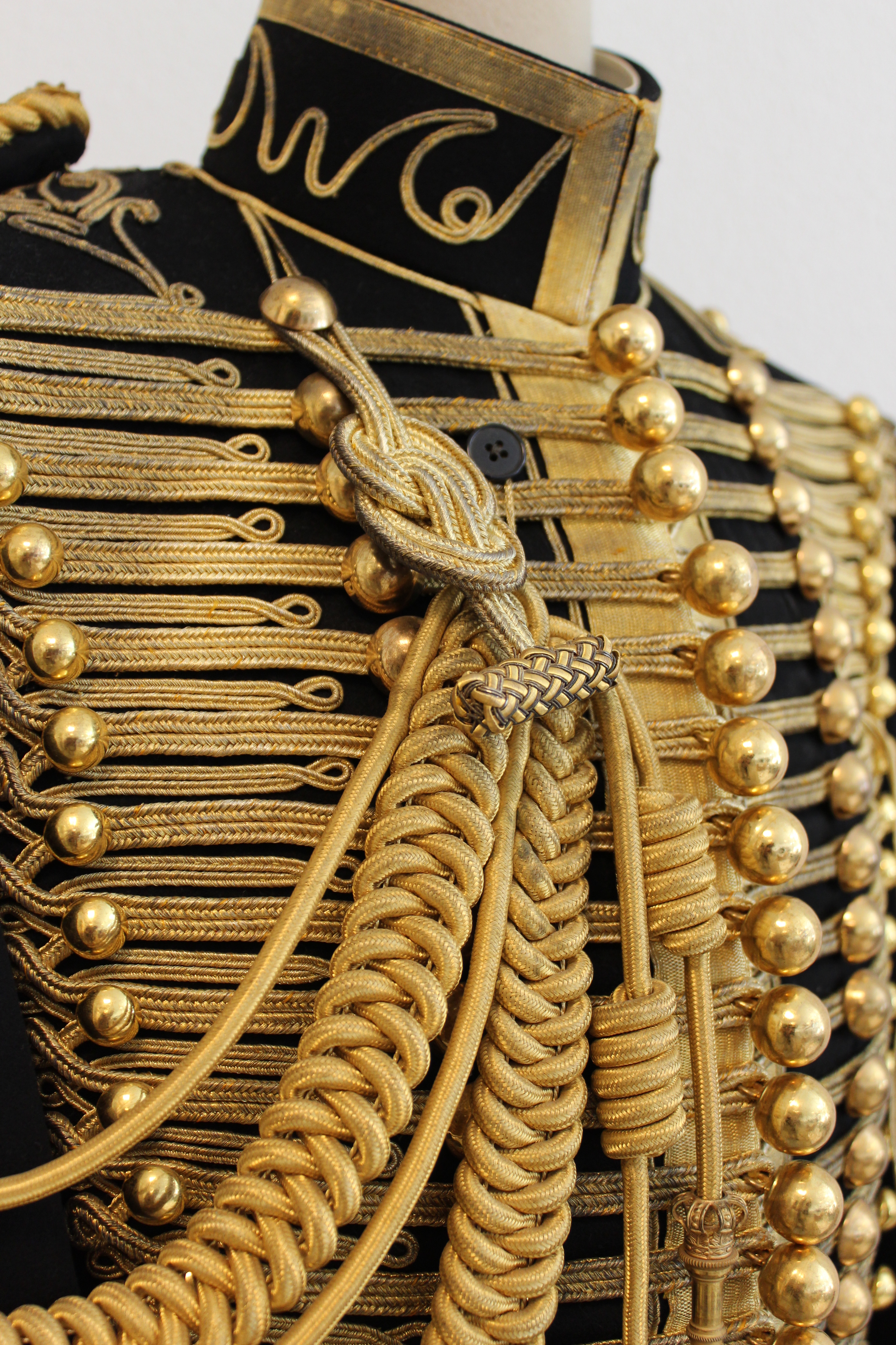 cleaning gold braid on 1937 dolman of HRH Prince Bernhard of The Netherlands
